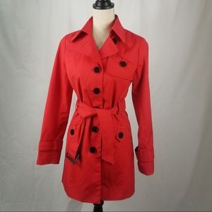 Red Classic Trench Coat by Louie Louie